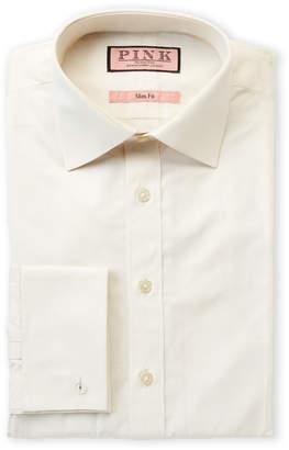 Thomas Pink Slim Fit Solid Long Sleeve Dress Shirt