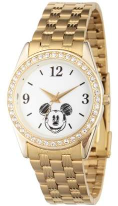 Disney Mickey Mouse Women's Gold Alloy Glitz Watch, Gold Stainless Steel Bracelet