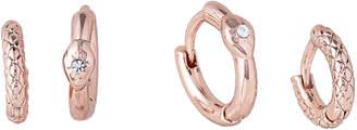 Luv Aj Rose Gold-Tone Double Serpent Huggie Earrings
