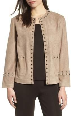 Ming Wang Embellished Faux Suede Jacket