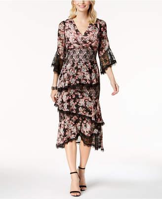Jax Floral-Print Lace-Trim Midi Dress