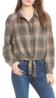 BP Tie Front Plaid Shirt