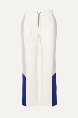 Ninety Percent Net Sustain Color-block Organic Cotton-jersey Track Pants - White