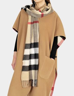 Burberry Half Mega Check Scarf in Camel Cashmere