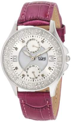 Burgi Women's BU44RD Round Diamond Classic Stainless Steel GMT Date Watch
