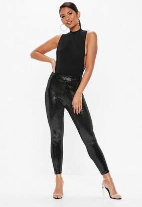Missguided Black Velvet Sequin Leggings