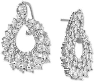 Tiara Cubic Zirconia Swirl Cluster Drop Earrings in Sterling Silver