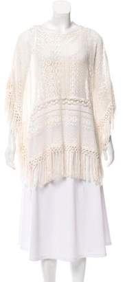 The Kooples Open Knit Fringed Top