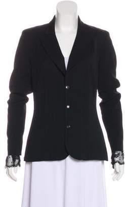Black Halo Lace-Accented Long Sleeve Blazer