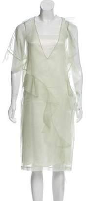 Maison Margiela Silk Ruffle-Trimmed Dress w/ Tags