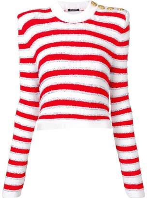 Balmain striped cropped sweater