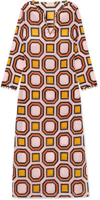 Tory Burch - Geo Embellished Printed Cotton-voile Kaftan - Orange