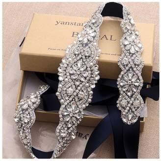 yanstar Wedding Bridal Belt for Wedding Dress Crystal Rhinestone Applique Beaded On Ivory Wedding Belt Sash
