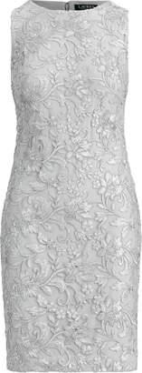 Ralph Lauren Sequined Floral Mesh Dress