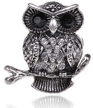 Fashionable Alilang Fat Chubby Owl Crystal Rhinestone Adjustable Ring