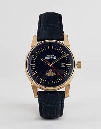 Vivienne Westwood VV065BLBL mens finsbury II leather watch in navy