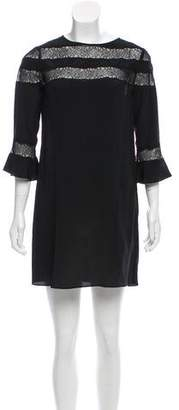 Rebecca Taylor Lace Trimmed Silk Dress