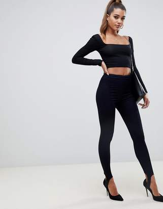 Asos RIVINGTON High Waisted Denim Jeggings in Indigo with Stirrups