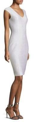 St. John Ripple Texture Sequin Knit Sheath Dress