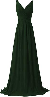 ANFF Women's Long Evening Gowns Formal Party Prom Dress V Neck Bridesmaid Dress