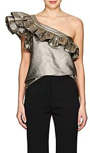 Philosophy di Lorenzo Serafini WOMEN'S LAMÉ ONE-SHOULDER TOP-GOLD SIZE 40 IT