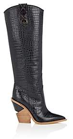 Fendi Women's Stamped-Leather Cowboy Boots - Black