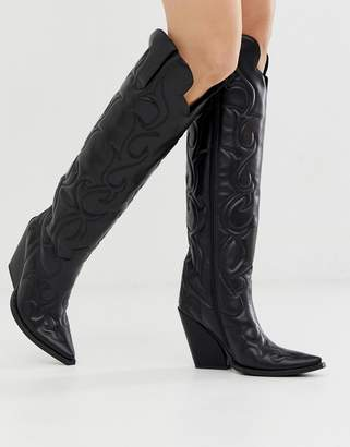 Jeffrey Campbell Black Western Knee High Leather Boots