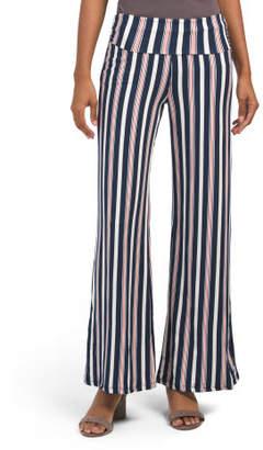 Juniors Striped Wide Leg Palazzo Pants