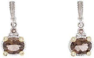 Judith Ripka Smokey Quartz & Diamond Drop Earrings