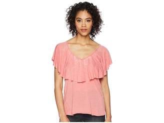 Lucky Brand Burnout Ruffle Tee Women's T Shirt