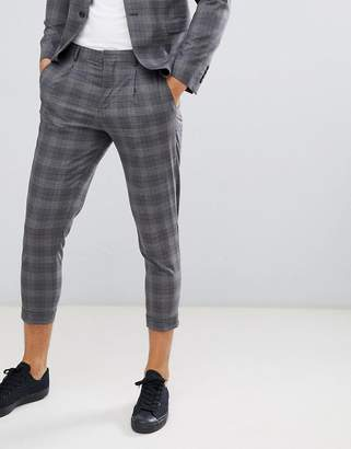 Jack and Jones Suit PANTS In Tapered Fit Gray Check With Cropped Ankle