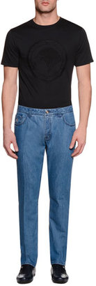 Stefano Ricci Five-Pocket Slim-Fit Denim Jeans, Light Blue $1,495 thestylecure.com