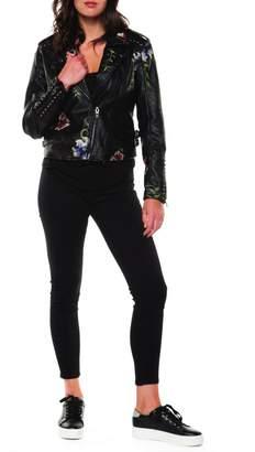 Moto Black Tape Embroidered Vegan Jacket