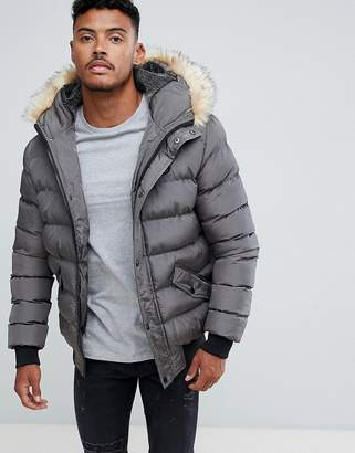 SikSilk puffer jacket with faux fur hood in gray