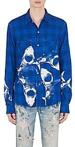 Amiri Men's Shark-Print Flannel Shirt - Blue