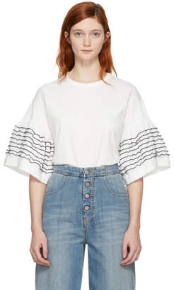 See by Chloe Off-White Ruffle Sleeve T-Shirt