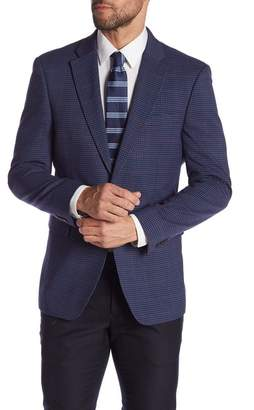 Tommy Hilfiger Blue Red Plaid Two Button Notch Lapel Stretch Sport Coat