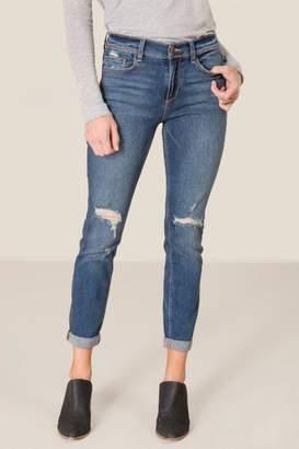 francesca's Harper Heritage Mid Rise Boyfriend Jeans - Medium Wash