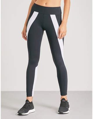 58ff2f08ed38c Koral Womens Black and White Stripe Hull Stretch-Jersey Leggings