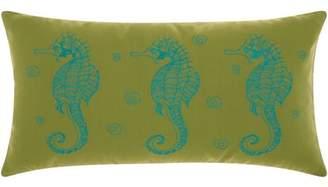 "Nourison Indoor/Outdoor Seahorse Decorative Throw Pillow, 12"" x 22"", Green/Turquoise"