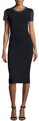 MICHAEL Michael Kors Short-Sleeve Dome-Studded Sheath Dress, New Navy $225 thestylecure.com