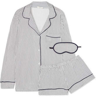 Eberjey Sleep Chic Striped Jersey Pajama Set - White