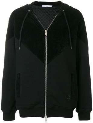 Givenchy panelled zip front hoodie