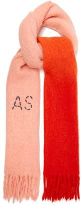 Acne Studios Kelow Dye Bi Colour Fringed Scarf - Womens - Pink
