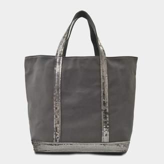 Vanessa Bruno Sequin and Canvas Medium Tote Bag in Anthracite Cotton