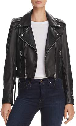 Aqua Lace-Up Leather Moto Jacket - 100% Exclusive