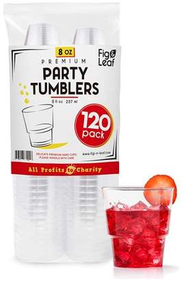 Top Choice Fig & Leaf (120 Pack) - 8 OZ Clear Hard Plastic Cups Premium Beverage Party Cup l Old Fashioned Crystal Clear Tumblers 8-Ounce l Disposable Reusable l for Catering Wedding Drinking Birthday