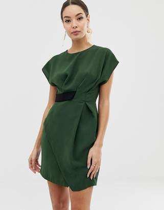 94a4cf31dca Asos Design DESIGN origami mini dress with tab side