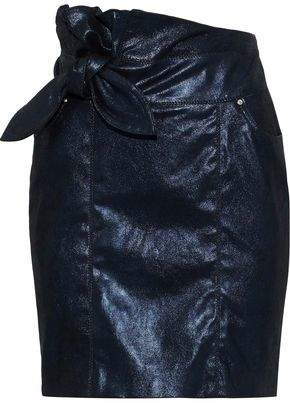 IRO Altmore Knotted Metallic Brushed-Leather Mini Skirt