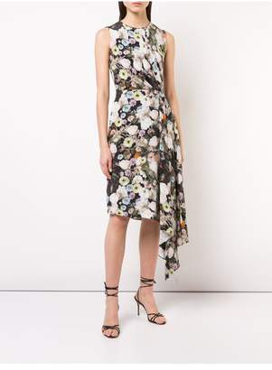 ADAM by Adam Lippes Printed Silk Crepe Draped Sleeveless Dress